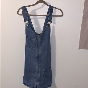Denim overall dress with pockets, zip front